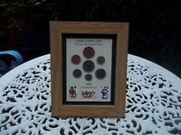 """50th Birthday 1968, 7 Coin & Christmas Stamps Framed Set, Unique Gift, 8"""" x 6"""""""