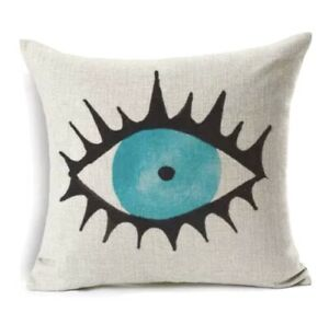 Evil Eye Pillow Cushion Cover Greek Turkish Home Decor Linen