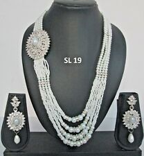 Indian Fashion Jewelry Wedding Bridal Silver Pearl Cz Necklace Earrings Sets