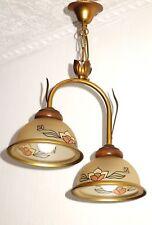 Alte Französische Messing- Glas Kronleuchter, Lüster 2 Flammig