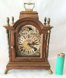 Warmink Mantel Clock Rare Dutch Moon Dial Bell Strike And Silent Vintage