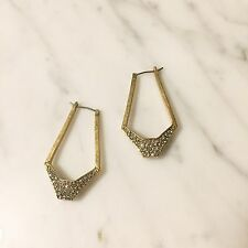 EUC Drop Dangle Chandelier Pave Frame Hoop Earrings Madewell J Crew Gold Crystal