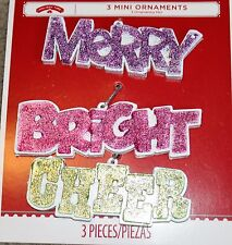 """Winter-Christmas-""""Merry-Bright-Cheer"""" Rosin Ornaments-3 ct-New"""