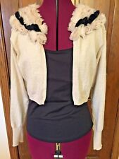 CAbi Style #683 Oatmeal Cotton & Cashmere Cropped Open Cardigan W/ Rosettes Sz S