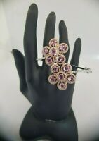 18Carat Rose and White Gold Diamond & Pink Sapphire Hinged Bangle 2.03 carats