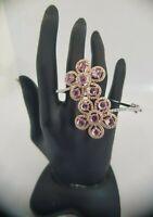 18Carat Rose and White Gold Diamond & Pink Sapphire Hinged Bangle 2.03 carats