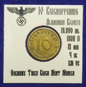 💰 1938 D German  10 Reichspfennig Third Reich Germany WWII #235