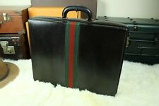 GUCCI Italy Red Green Ribbon Hard Case Leather Briefcase Business Attache Mens