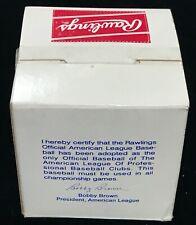 vintage RAWLINGS AMERICAN LEAGUE AL 1985 BOBBY BROWN original baseball box WHITE