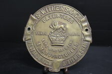 """Vintage Brass Plaque / Advertising for S. Withers Safe Company England 7.5"""" D"""