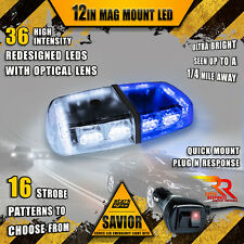 36 LED Light Bar Top Beacon Magnetic Hazard Roof Emergency Strobe White Blue A