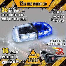 36 LED Light Bar Top Beacon Magnetic Hazard Roof Emergency Strobe White Blue A
