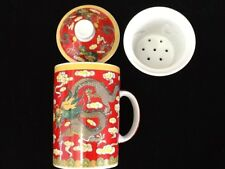 Chinese Porcelain Tea Cup Handled Infuser Strainer with Lid 10 oz ..............