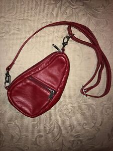 Ameribag Small cross body pouch purse red leather adjustable strap
