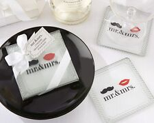Mr. and Mrs. Lips and Mustache Fun Glass Coasters Wedding Favors - 2pk