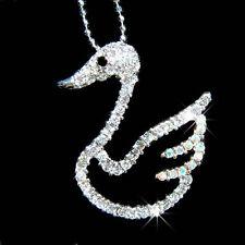 w Swarovski Crystal Bridal SWAN Wedding Theme Bird Pendant Necklace Nice Jewelry