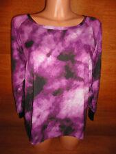 * Womens M CALVIN KLEIN CK 3/4 Sleeve Purple Tye Dye Top Shirt Blouse Polyester