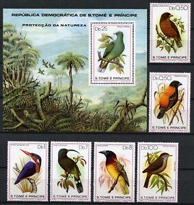 Sao Tome 1979 Vögel Nektarvogel Grüntaube Weber Birds 604-609 Block 39 MNH / 690