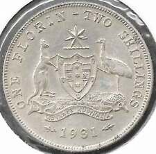 1931 KGV AUSTRALIA 2/- TWO SHILLINGS Sterling Silver UNCIRCULATED - see scans