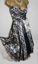 Lipsy Lace Dress 8 Black Cream Strapless Bow Fit Flare Gothic Retro Vtg Xmas