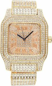 Large Men Fully Iced Watch Bling Rapper Simulate Diamond Gold Hip Luxury Dial