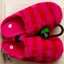 New Ladies Pink Stripe Plush Mules Slippers UK Size 3 - 4 Euro 36 37 Soft