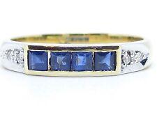 Half Eternity Sapphire 0.32ct & Diamonds 0.04ct Yellow 14Carat Size R 1/2