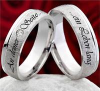 2 Trauringe Eheringe mit Zirkonia Hochzeitsringe 925 Silber mit Lasergravur ZL43