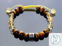 Leo Citrine Tigers Eye Birthstone Bracelet 7-8'' Macrame Healing Stone Chakra
