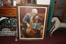 Vintage Oil Painting-Old Man Musician Playing Cello Stringed Instrument-VLarge