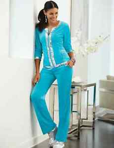 Size 1X PLUS Midnight Velvet Teal Velour Sequin Trim Active Set Wear Track Suit