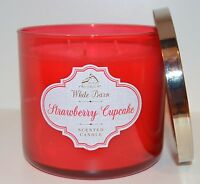NEW BATH & BODY WORKS STRAWBERRY CUPCAKE SCENTED CANDLE 3 WICK 14.5 OZ LARGE RED