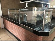 """108"""" 9' ft Pizza Display Case Glass Sneeze Guard All Stainless Steel W/ Shelf"""