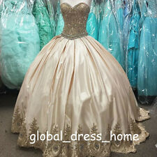 Gold Applique 2017 Quinceanera Dresses Satin 15 16 Dance Prom Wedding Ball Gown