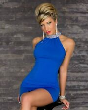 Sz 8 10 Blue Halter Open Back Cocktail Party Slim Fit Clubwear Prom Mini Dress