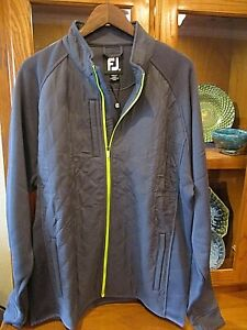 FootJoy Mens Quilted Sweater Fleece Jacket Full Zip XL Charcoal/Lime NWT