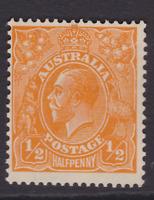 AUSTRALIA KGV 1/2d Orange CofA WMK MINT/MUH SG 124 (LD78)