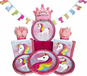 Unicorn Birthday Party Supplies – 28 Guests – 243 Pieces – Unicorn Theme Part...