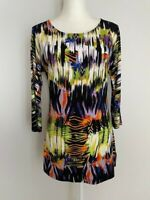Carolyn Taylor Womens Tunic Top Blouse Size S Multi-Color Scoop Neck 3/4 Sleeve