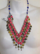 Anthropolgie Orange Green Blue Bead Tear Statement Necklace NWT $89
