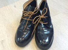 Loretta navy blue patent leather lace up brogues size 6/39 orthopaedic comfort