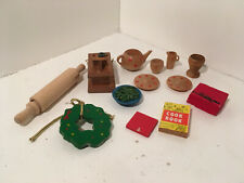Vintage Dollhouse Miniatures Lot of 13 Wood Kitchen Accessories #24