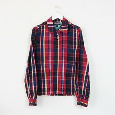 VINTAGE 90'S RED TOMMY HILFIGER TARTAN CHORE JACKET WORKER HARRINGTON | SMALL