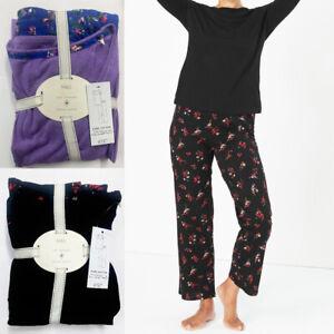 Ex M&S Lounge Wear Pyjama Set Womens Ladies PJ Cotton Nightwear In Floral Print