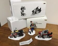Dept. 56 Snow Village Harley Davidson Holiday 54898 + Fat Boy & Softtail 54900