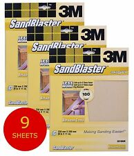 3M Sandblaster Sandpaper Sheets Paint Stripping Bare Surface (9 Sheets) 180 Fine - 9 Sheets