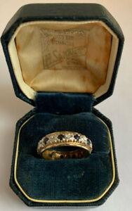 Ladies Heavy Vintage 9ct 375 Gold Sapphire & Diamond Full Eternity Ring uk J 1/2