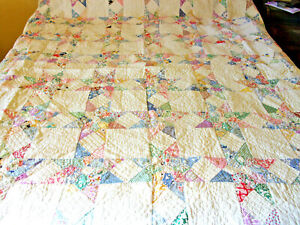 """Vintage Hand Quilted  Star Quilt 83"""" x 74""""  Beautiful!"""