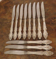 Oneida Baroque Rose 11 Dinner Knives 1881 Rogers Vintage Silverplate Flatware A