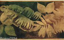 Tropical Shimmer Gold Brushed Green Palm Banana Leaf Leaves Wall paper Border